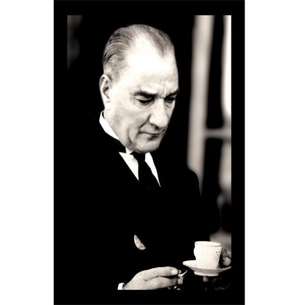 Çay Kahve İçerken Atatürk Posteri