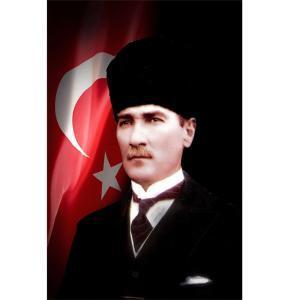 Kalpaklı Türk Bayraklı Ataturk Posteri