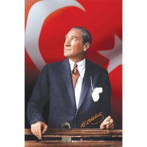 Kürsüde Türk Bayraklı Ataturk Posteri